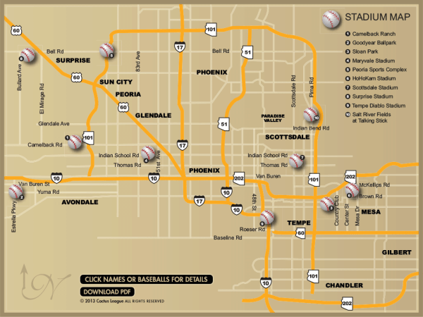 Arizona Cactus League Spring Training map