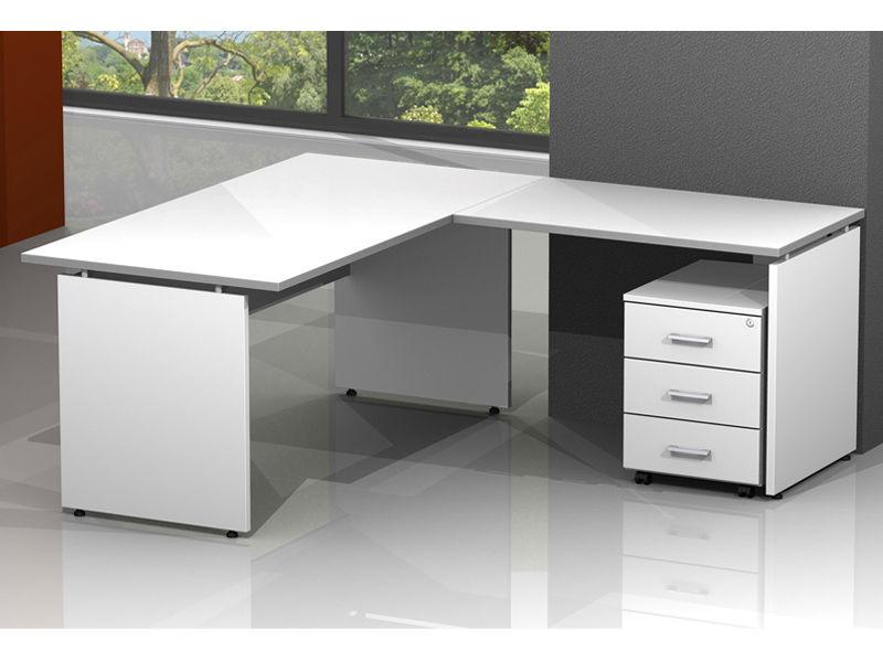 Scrivania ufficio legno operativa con allungo e for Arredo ufficio bianco