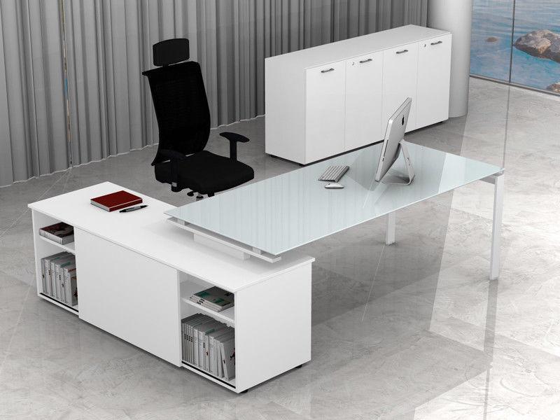 Scrivania Con Vetro.Arredo Ufficio Metallo E Vetro Direzionale Con Mobile E Scrivania Scacco Evo