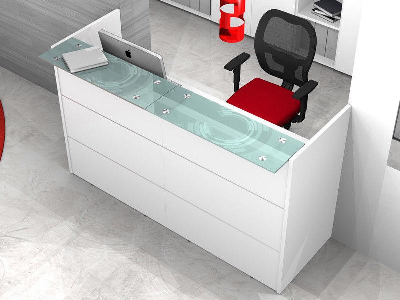 Mensole In Vetro Bianco.Reception Bancone Ufficio Lineare Con Mensole Vetro