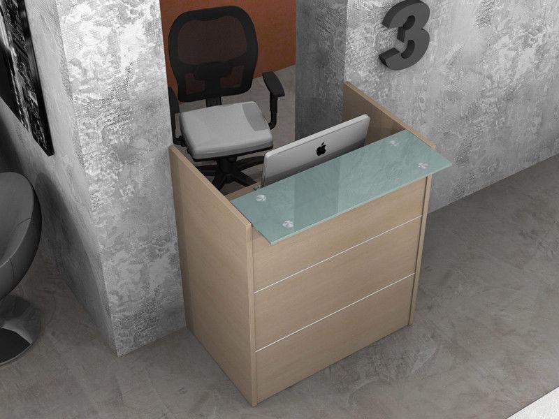 Reception bancone scrivania ufficio lineare con mensola for Scrivania reception