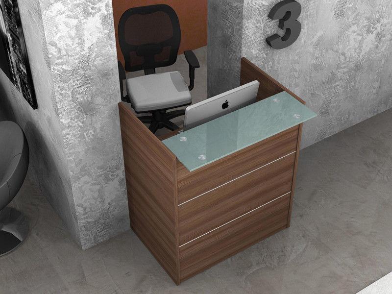 Reception bancone scrivania ufficio lineare con mensola for Scrivania da reception