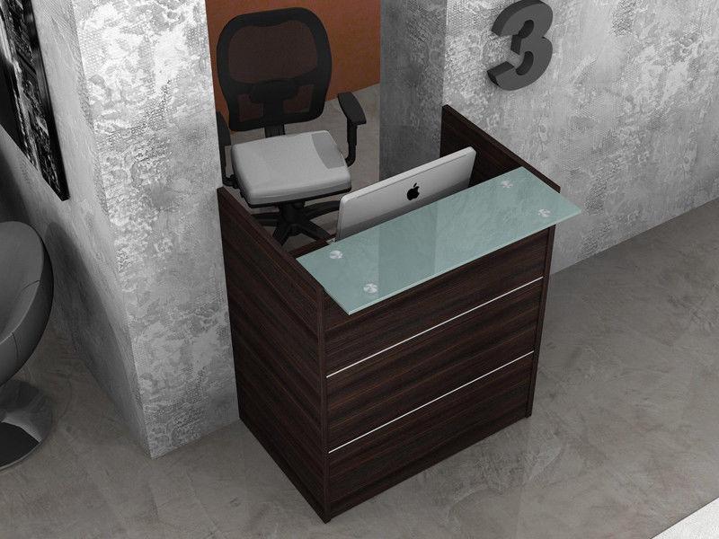 reception bancone scrivania ufficio lineare con mensola