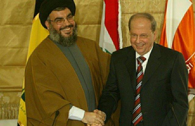 Մար Մխայէլ եկեղեցւոյ մէջ, սէյիտ Նասրալլա եւ զօր. Աուն կը ստորագրեն փոխըմբռնումի համաձայնութիւն. 6 փետրուար 2006