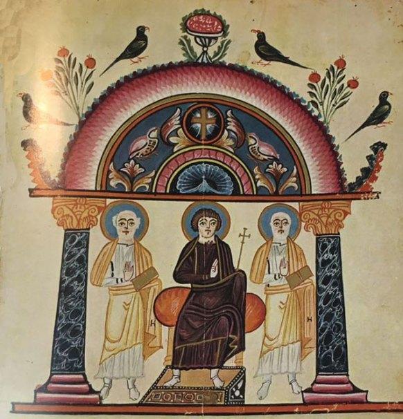 «Քրիստոսը գահի վրայ», Էջմիածինի Աւետարան, 989 թ.