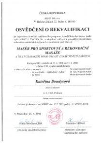 Certifikát rekvalifikace Masáže