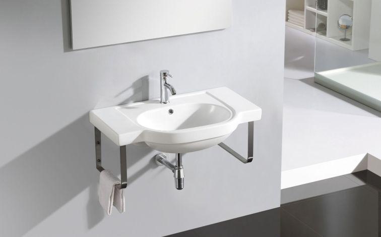 lavabo con soporte de acero