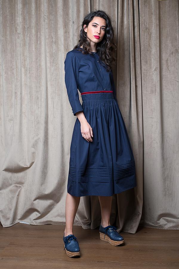 Vestido Montehermoso Azul 2 - AW1920 Folk - Azul Marino Casi Negro - Moda sostenible
