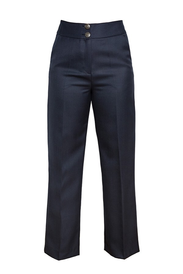 Pantalón Josefina Azul Marino 1 - AW2021 Las SinSombrero - Azul Marino Casi Negro - Moda sostenible