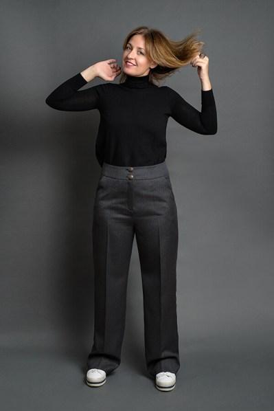 Pantalón Josefina Gris Espiga 5 - AW2021 Las SinSombrero - Azul Marino Casi Negro - Moda sostenible