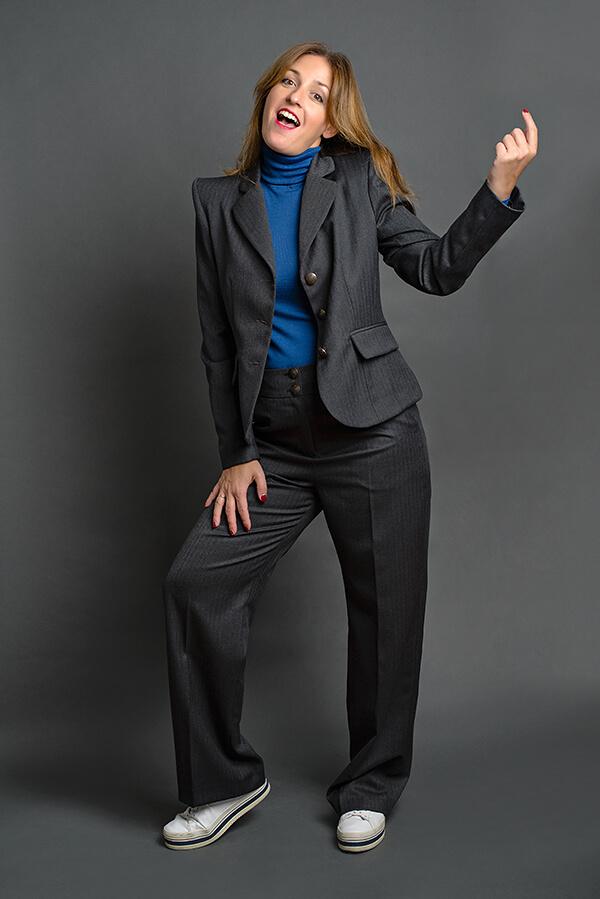 Pantalón Josefina Gris Espiga 2 - AW2021 Las SinSombrero - Azul Marino Casi Negro - Moda sostenible