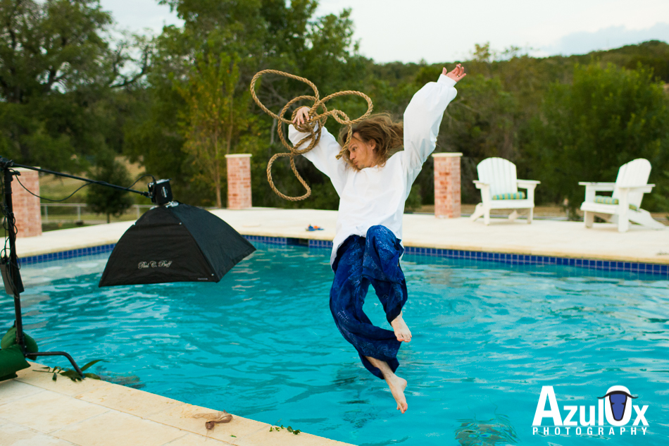 Ryan taking his first of 5 full nestea plunge jumps into the pool. This is when we switched to the softbox for protection of the flash unit