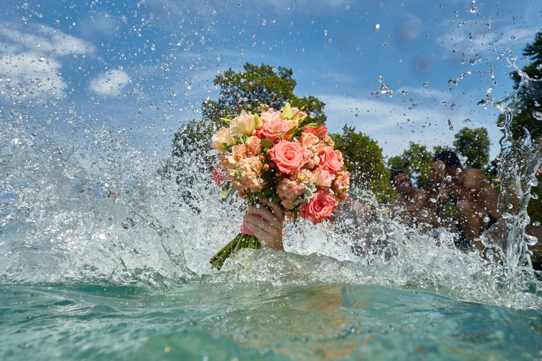 Bride takes the plunge at Barton Springs