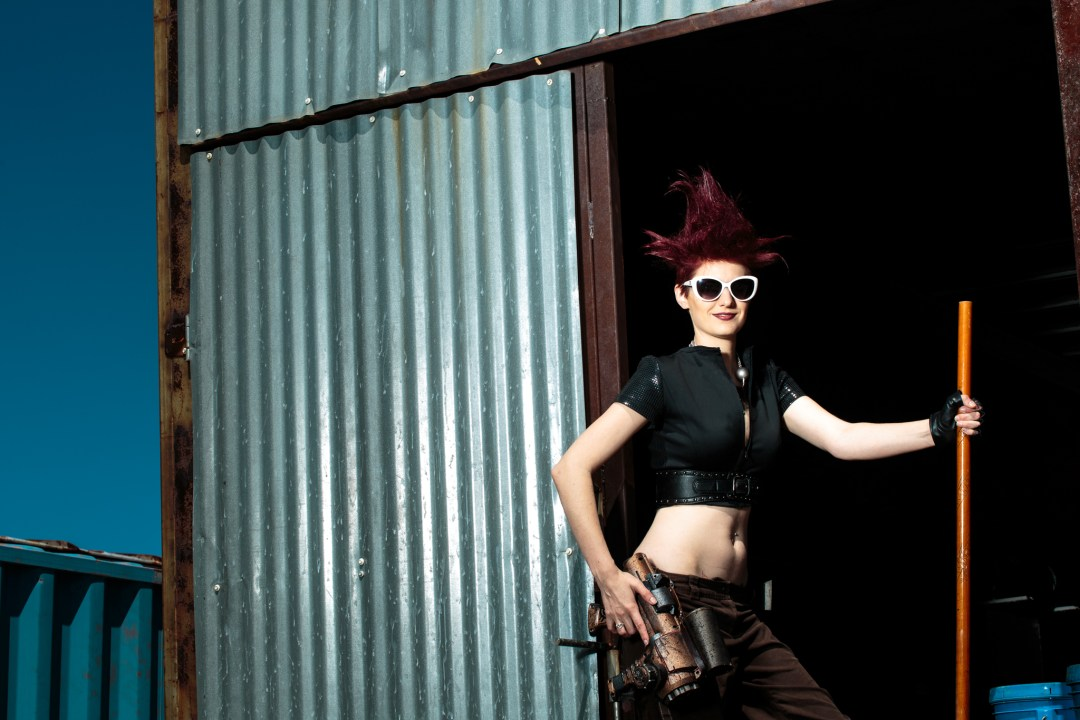 Jenny Lynn in different era's. Steam punk clothes wiht 1960s sunglasses. From a personal project out in the desert.