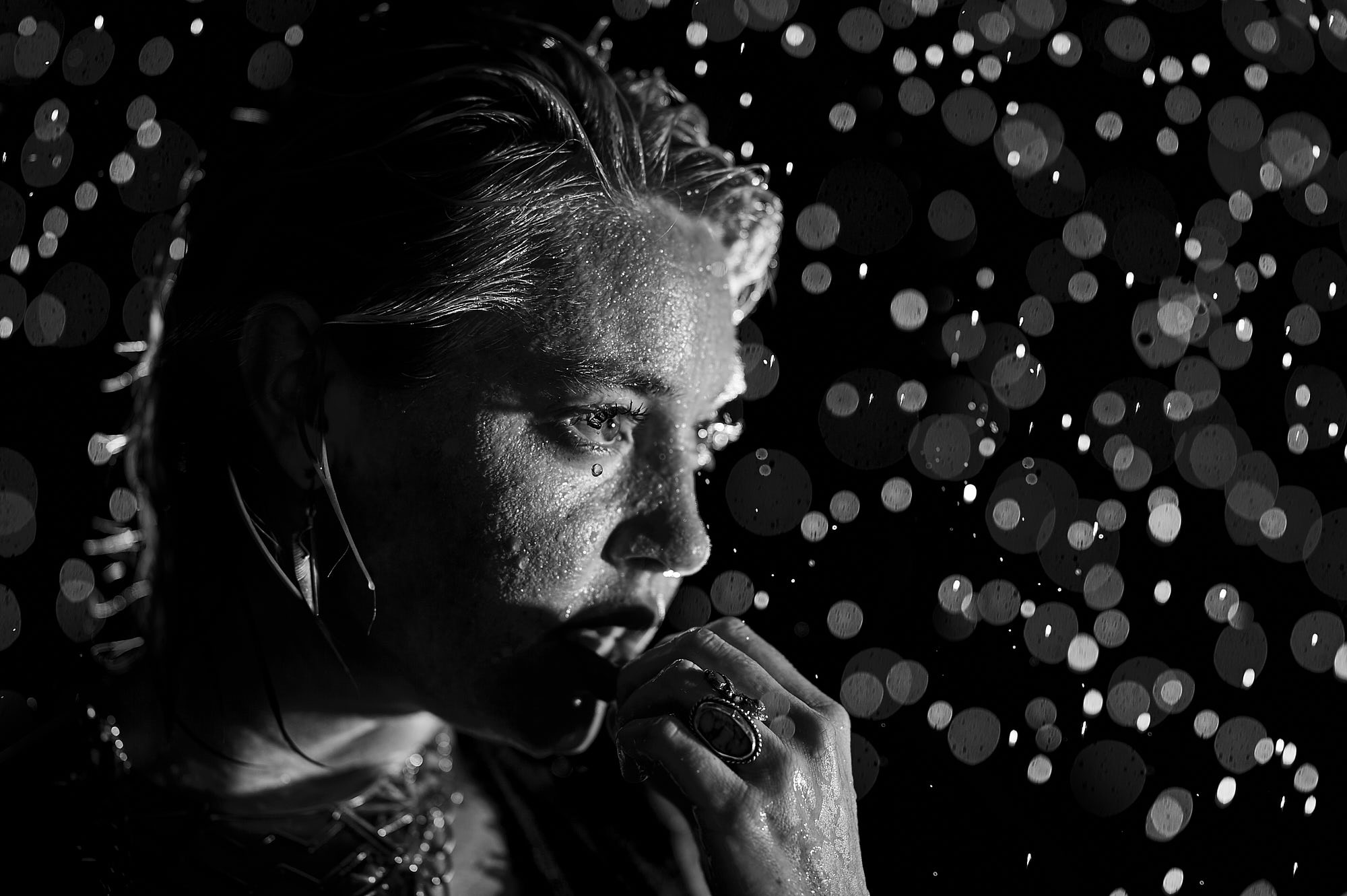 Meganoke Film Noir Rain Portrait Affinity Photo Edit