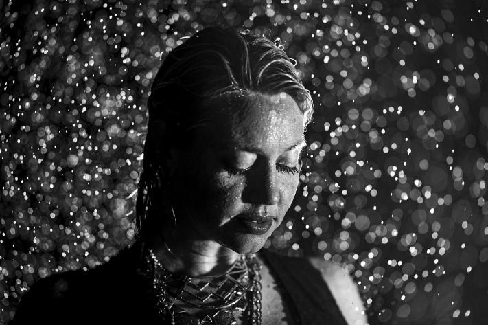 Soaked Portrait - Rain Portrait - Black and White Portrait