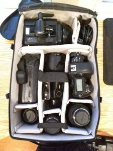 Packing as a Photographer - Packed f-Stop Gear camera bag - D3s, misc lenses and single Einstein light.