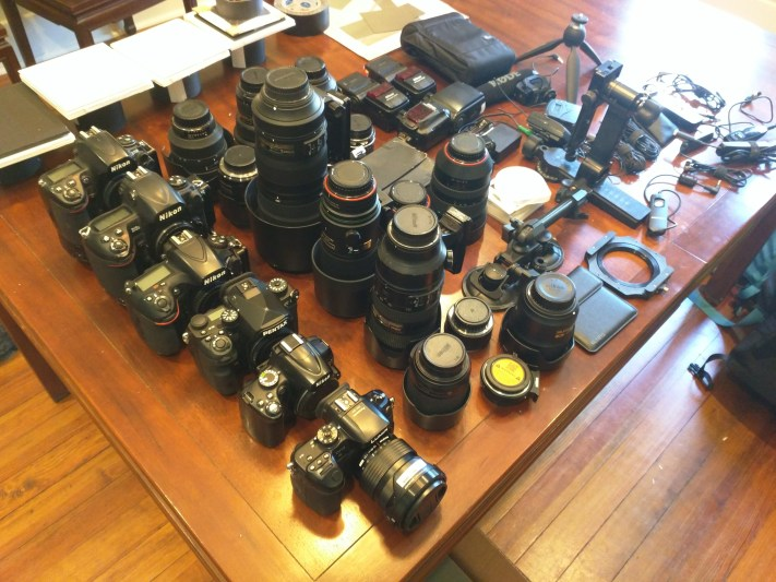 Lots of Nikon, Pentax and Lumix gear in prep for eclipse.