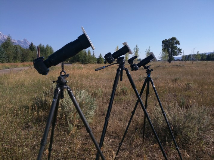 Three of my cameras set up for the eclipse.
