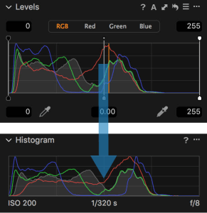 Levels Tool Unadjusted vs Histogram in Capture One