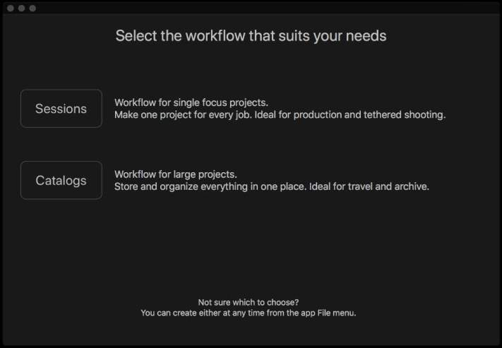 Capture One Catalogs vs Sessions: Start a Catalog or a Session Screen