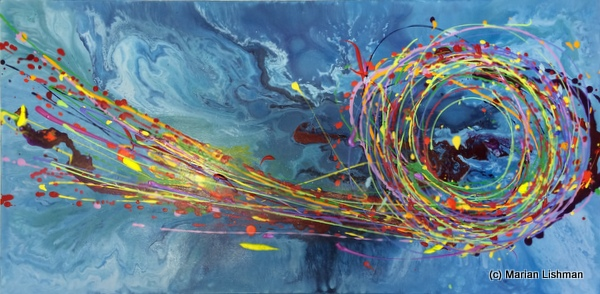 Modern Bold Abstract Acrylic Painting on Canvas