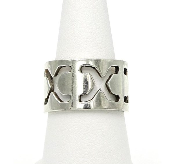 Sterling Mexico Cigar Band Cut Out X Ring