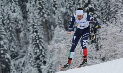 Pietro Dutto, stella del biathlon azzurro, impegnato nella gara di inseguimento in quel di Tyumen