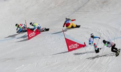 Brutto, Moioli e Belingheri, snowboarder italiane, in azione ai Mondiali 2017 in Sierra Nevada