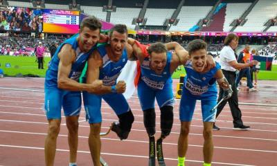 I ragazzi della staffetta azzura vincono l'argento agli Europei di atletica paralimpica 2018