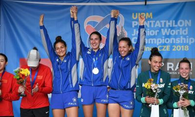 pentathlon mondiali junior 2018 elena micheli oro campionessa aurora tognetti maria lea lopez italia oro a squadre italy gold pentathlon moderno junior modern pentathlon junior world championships 2018 kladno repubblica ceca