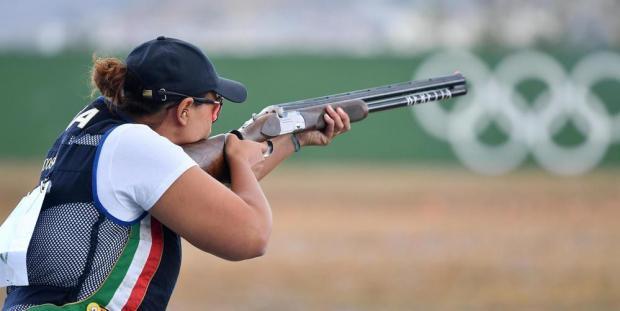 Diana Bacosi in azione durante la finale di Skeet a Rio 2016