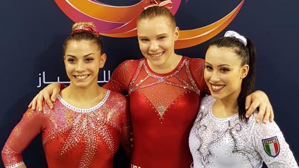 CDM DOHA 2019: 1°posto Jade Carey, 2° posto Lara Mori, 3° posto Vanessa Ferrari FONTE: FEDERGINNASTICA.IT