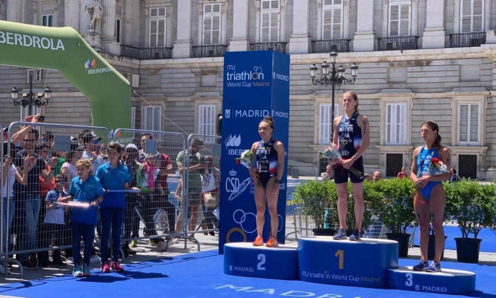 triathlon coppa del mondo 2019 madrid angelica olmo bronzo italia italy triathlon world cup bronze terzo posto podio podium distanza sprint