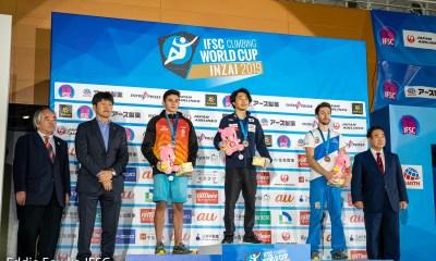 Stefano Ghisolfi sul podio ad Inzai (JAP) nell'ultima tappa di Coppa del Mondo 2019 di Arrampicata Sportiva