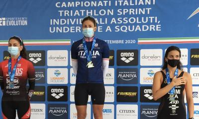 triathlon campionati italiani sprint 2020 podio femminile campionato italiano triathlon sprint angelica olmo luisa iogna prat sharon spimi italia italy lignano sabbiadoro gara donne