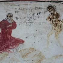 """Bătrânul și Moartea, frescă pe fațada nordică a bisericii """"Sf. Nicolae"""" din Dozești (jud. Vâlcea), septembrie 2015"""