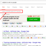 "a snapshot of search results for ""eligible to rank on Google"""