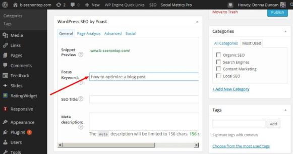 snapshot of yoast plugin showing where you enter your focus keyword phrase