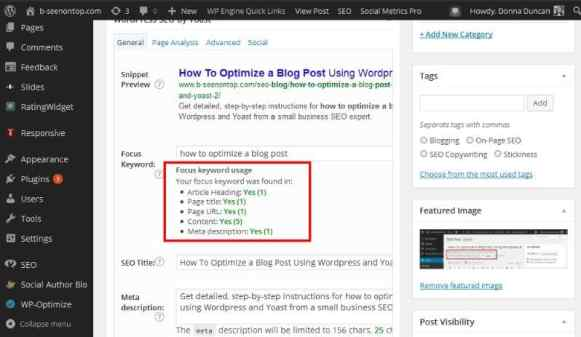 snap showing the five bullet points you should check before hitting publish on your new optimized blog post