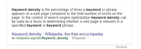 definition of keyword density from wikipedia