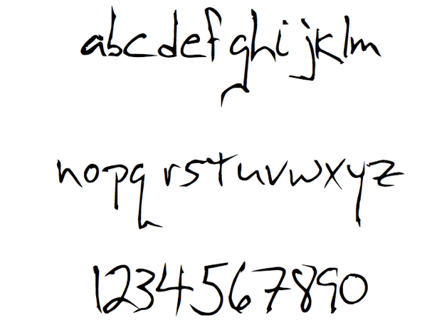 A few letters from my handwrithing font