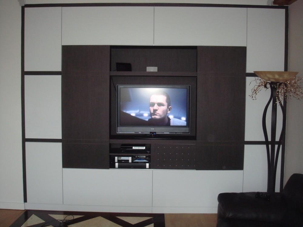 Meuble-TV-Bibliothèque-gris-anthracite-et-blanc-mat-1-e1423572725894