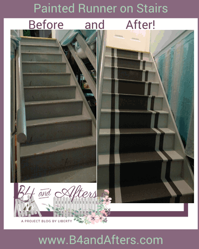 Painting a Runner on the Basement Stairs