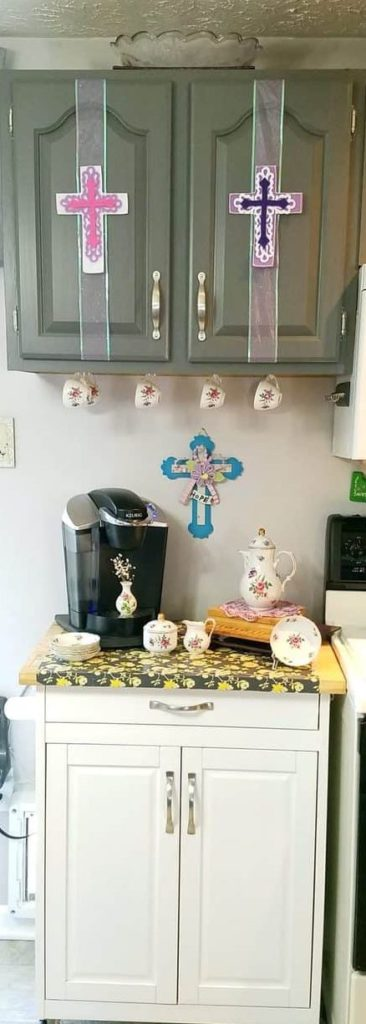 kitchen coffee station decorated for Easter