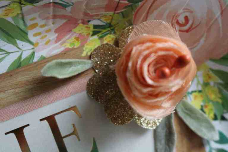 fabric flower and lamb's ear leaves