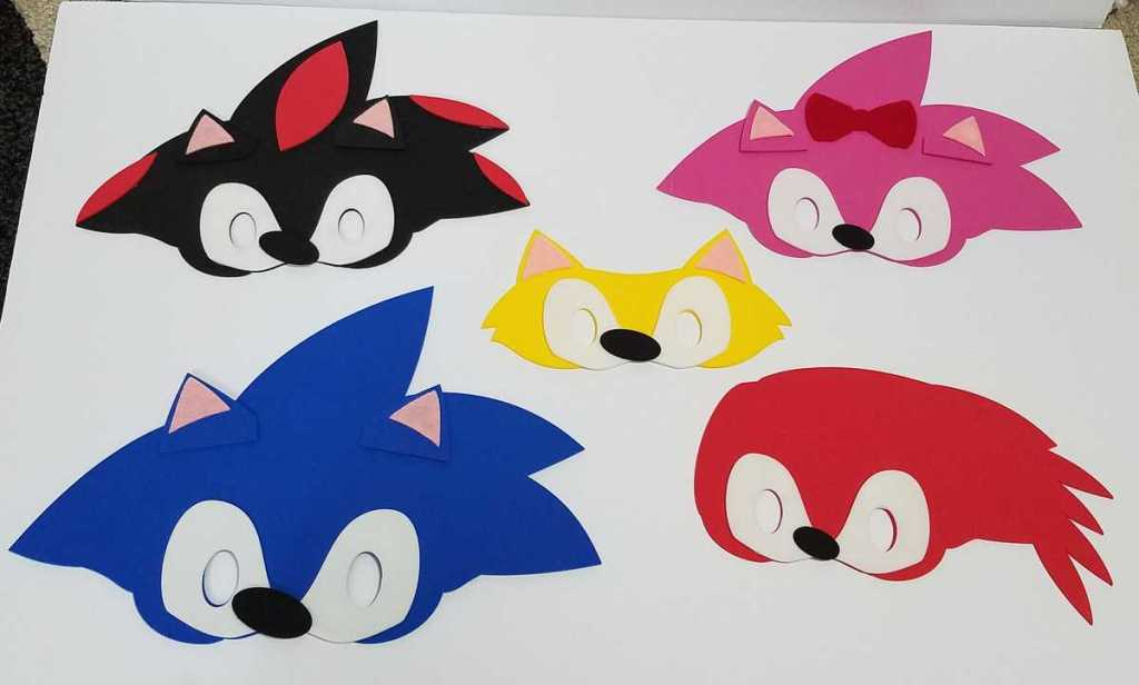 5 Sonic the Hedgehog movie character face masks