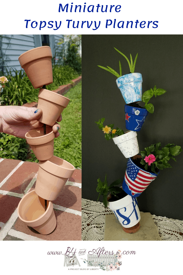 before and after pictures of mini topsy turvy planters
