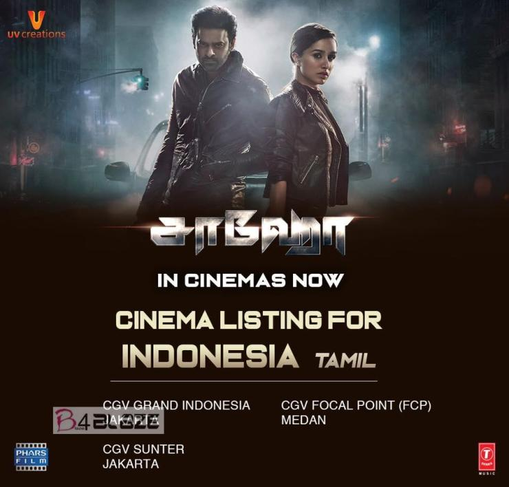 Saaho Theatre List in Indonesia Tamil