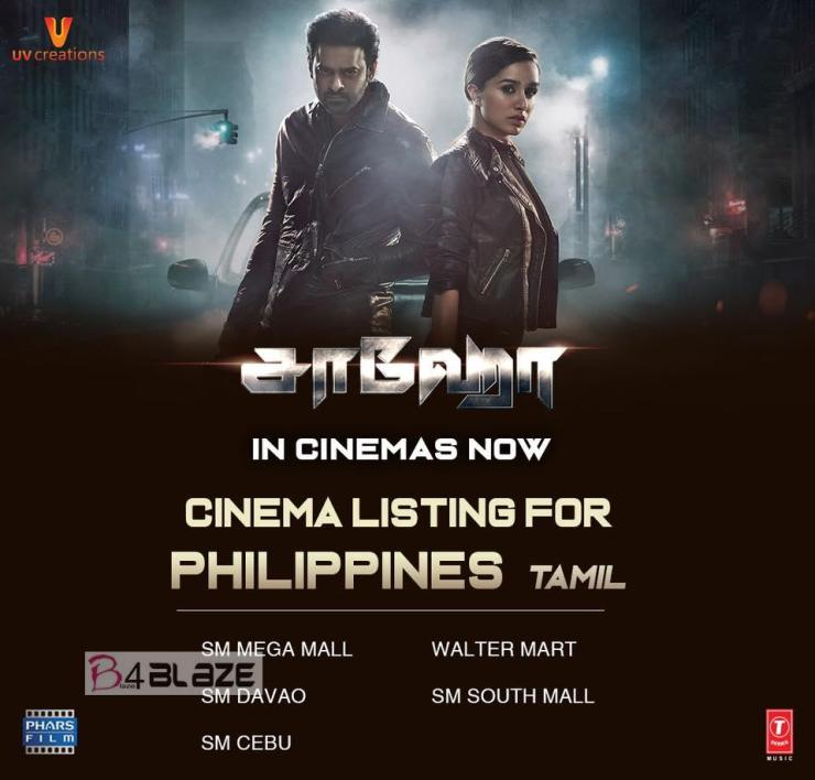 Saaho Theatre List in Philippines Tamil
